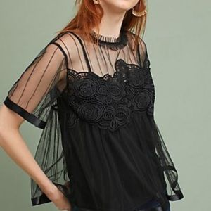 Anthro + Eva Franco Lace Swing Top in Black